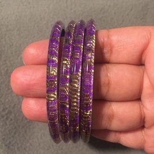 Purple & gold bangle set of 4
